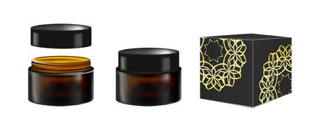 glass jar: Blank Realistic Cosmetic Container for Face Cream, Powder, Gel, Face mask. Package isolated on white background. Black Box or cardboard packaging. 3d illustration. For Beauty advertising