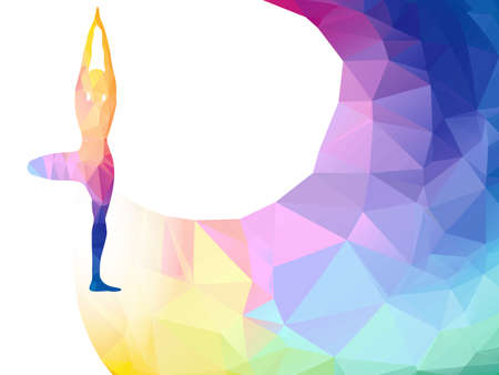 rainbow polygonal label with woman silhouette of yoga pose. Yoga sport invitation poster or background with empty space, template. Colorful polygonal triangle background. Иллюстрация
