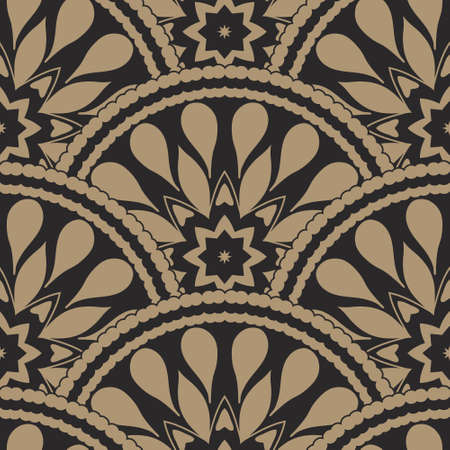 fan shaped: Vector abstract seamless geometrical wavy background from golden and black fan shaped ornate feathers and banners with ethnic patterns. Fish scale order.Batik painting. Oriental textile print.Art deco