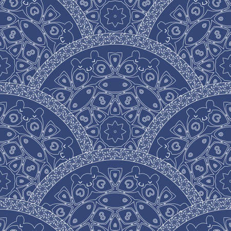 poster art: Abstract seamless wavy pattern from decorative ethnic ornaments with dark blue paint texture. Regular fan or peacock tail shaped ornamental elements.