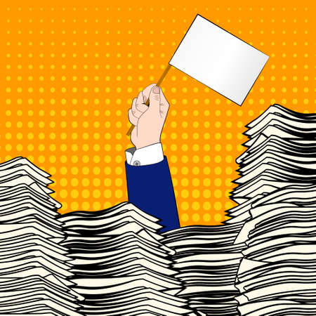 invoices: Paperwork. Businessman hand with white flag. Office desk loaded of paperwork , invoices and a lot of papers, documents. Pop art. Overworked man. Time management Illustration