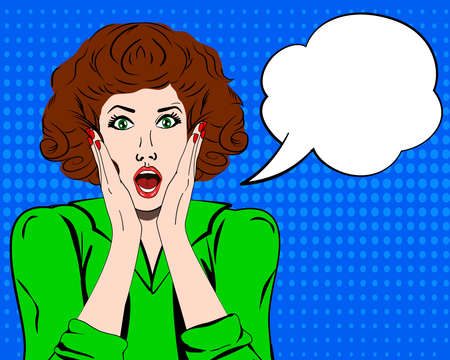 Pop art surprised woman face with open mouth. Comic woman with speech bubble. Vector illustration. Panic woman. Stress. Shocked. Shocked woman. Stress woman. Pop art woman. Sale. wow woman expressions