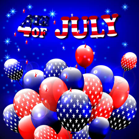 baloons: Happy 4th of July design. Blue background, baloons with stars, striped text. American independence day greetings. For invintation, party, bbq. vector. Illustration