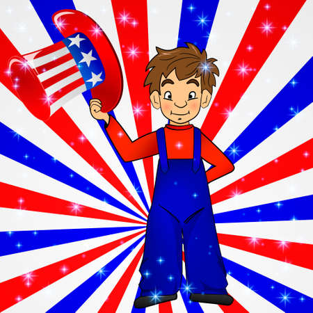 uncle sam hat: Patriotic Uncle Sam hat in young america boy hand: for 4th of July public holiday card greetings, vector. Cartoon, doodle style. American stars, stripes background in national colours: red blue white. Illustration