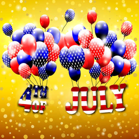 baloons: Happy 4th of July design. Gold background, baloons with stars, striped text. American independence day greetings. For invintation, party, bbq. vector. Illustration