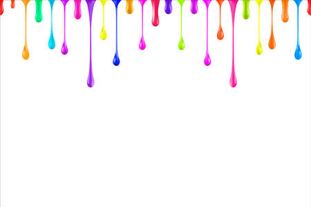 虹色油絵の具光沢低下が白で隔離。  イラスト・ベクター素材