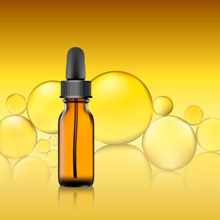 essential oil package on yellow oil bubble background. homeopathy balm