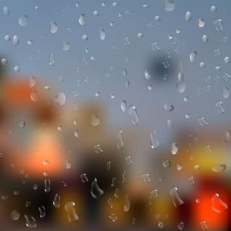 rain window: Drops of rain on window with abstract lights. 3d illustration.