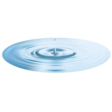 water ripple: Water drop and ripple or circle isolated over white. 3d illustration.