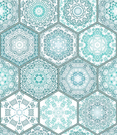 Blue green Tiles Floor Ornament Collection Gorgeous Seamless Patchwork Pattern Colorful Painted Tin Glazed Ceramic Tile work Vintage Illustration web page template background