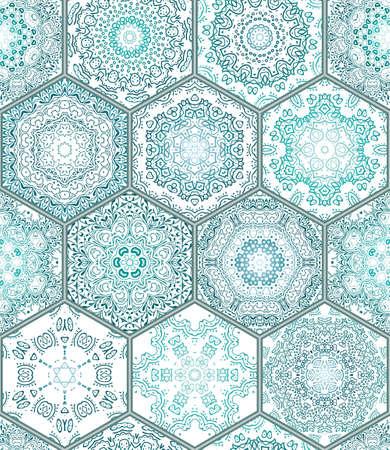 Verde azul azulejos del piso del ornamento Colección inconsútil del remiendo magnífico patrón pintado colorido de la lata de cerámica vidriada Trabajo del azulejo del ejemplo del vintage plantilla de fondo de páginas web