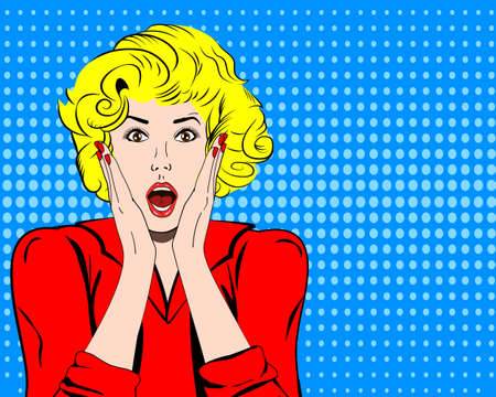 woman shocked face with open mouth and speech bubble for message in pop art comics style. Retro amazed woman face. Stock Illustratie