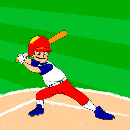 Young baseball player with a bat on his shoulder ready for batting. Baseball filed. Young boy in red blue white clothes. Cartoon character