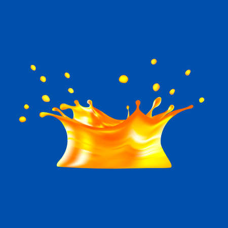 orange juice: orange juice splash isolated on blue background