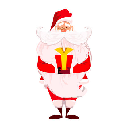 papa noel: Merry Christmas. Happy New Year. Santa Claus with long beard and cute moustache in red. Papa Noel present red gift with gold ribbon isolated over white. Presents on Christmas day concept.