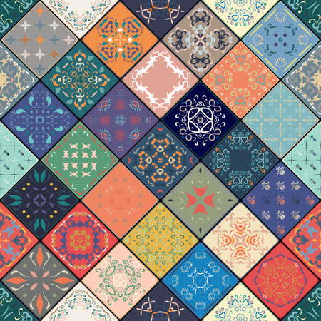 Luxury oriental tile seamless pattern. Colorful floral patchwork background. Mandala boho chic style. Rich flower ornament. Square design elements. Portuguese moroccan motif. Unusual flourish print. Illustration