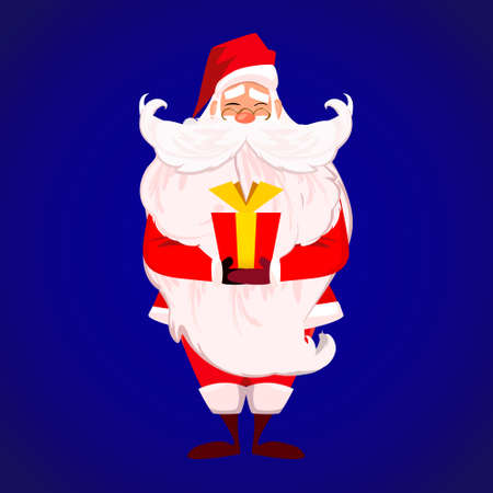 papa noel: Merry Christmas Happy New Year. Santa Claus with long beard and cute moustache in red. Papa Noel present red gift with gold ribbon isolated over blue. Presents on Christmas day concept.