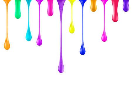 vivid colors: Rainbow glossy paint drop blobs isolated on white. 3d illustrator. Falling nail polish drops. Gradient mesh. Toxic vivid bright colors.