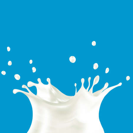 milkman: cows, sheeps, goats, soya, rice, oat or coconut milk splash illustration on blue background - created with mesh tool.