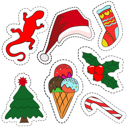 Quirky cartoon patch badges or fashion pin badges. Christmas decoration set: Santa hat, Candy cane, ice cream, Christmas symbol holly berry, Christmas tree, lizard, hand knitted socks for gifts Illustration