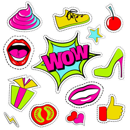 Vector set of quirky cartoon patch badge, sticker, fashion pins. Hand drawn set with open mouth, high-heel shoes, cherry, heart, stars, thumb finger, sneakers, shit, wow phrases. Design Illustration Illustration