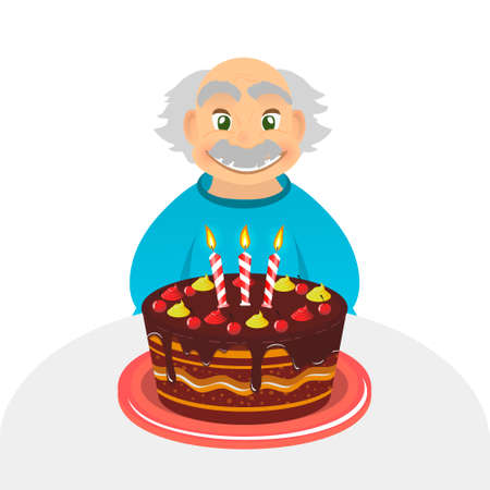 Old man celebrating birthday. Senior man with chocolate cake and candle sitting alone over white. Portrait of grandfather with grey hair and mustache, front view. caucasian elder man Illustration