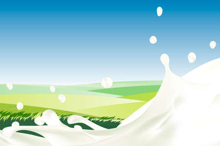Rural landscape with blue sky and splash of milk. Morning sun and dawn. Realistic Cream with drops against green meadow with grass. white yogurt. idealistic picture. for packaging, branding