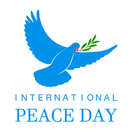 White Dove Vector Icon with Olive Branch. Peace Symbol. Pigeon Isolated Logo. White Flying Bird Emblem. Flat Dove Sign. International Day of Peace Poster Template with white dove, olive. 21 september. Illustration