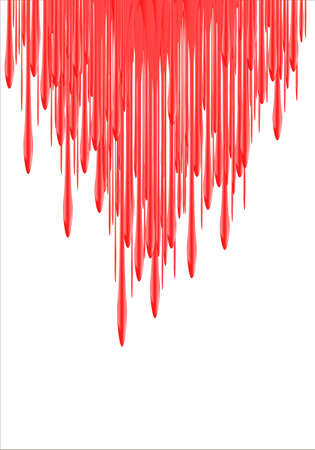 leaking: Paint Drips - vector illustration. Red falling red liquid or blood. red nail polish leaking. 3d illustration