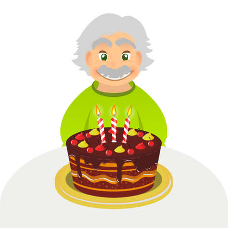 granny and grandad: Old man celebrating birthday. Senior man with chocolate cake and candle sitting alone over white. Portrait of grandfather with grey hair and mustache, front view. caucasian elder man. Illustration