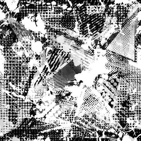 Abstract urban seamless pattern. Grunge texture background. Scuffed drop sprays triangles, dots, neon spray paint, splash. Urban modern dirty dark wallpaper. Fashion textile, sport fabric. torn style