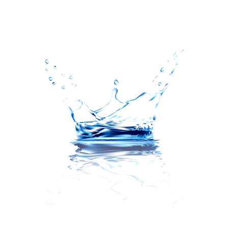 water spray: water vector splash with reflection. blue water spray with drops isolated. 3d illustration vector. aqua surface background created with gradient mesh tool