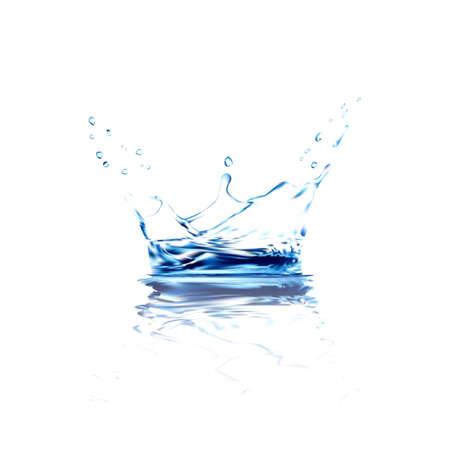 Wasser Vektor Splash mit Reflektion. blau Spritzwasser mit Tropfen isoliert. 3D-Darstellung Vektor. aqua Oberfläche Hintergrund mit Farbverlauf Mesh-Tool erstellt