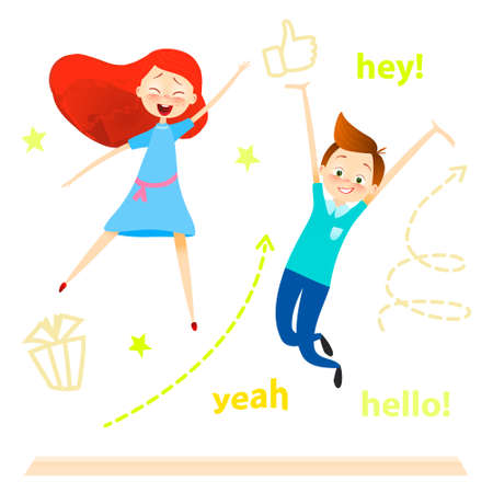 schoolkids: Cartoon children character. Kids jumping. Happy girls and boy enjoy and playing. isolated over white. vector. Joyful young pupils characters. Cute guy play with friends. success concept