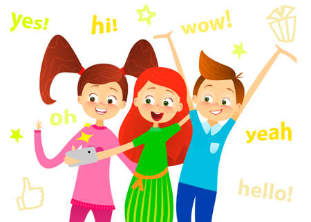 Cartoon children character. Kids smile, make selfie. Happy girls and boy enjoy taking selfie with photo camera. Child photography. Joyful young pupils characters. Cute guy with friends.