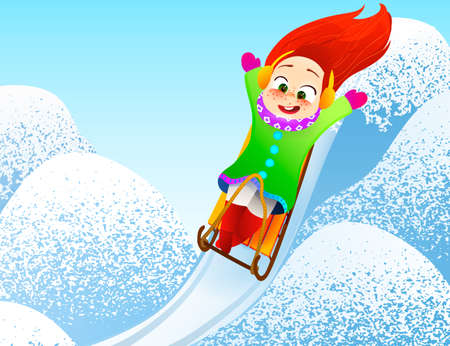 Little girl enjoying a sleigh ride. Child sledding. Toddler kid riding a sledge. Children play outdoors in snow. Kid sled in the Alps mountains in winter. Outdoor fun for family Christmas vacation.