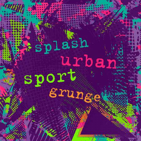 neon wallpaper: Paint stroke copy space. abstract urban pattern. Grunge texture background. Scuffed drop sprays, neon dots, paint, splash. Urban modern dirty dark wallpaper. Fashion textile, sport fabric. torn style.