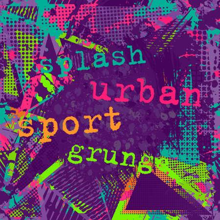 Paint stroke copy space. abstract urban pattern. Grunge texture background. Scuffed drop sprays, neon dots, paint, splash. Urban modern dirty dark wallpaper. Fashion textile, sport fabric. torn style.