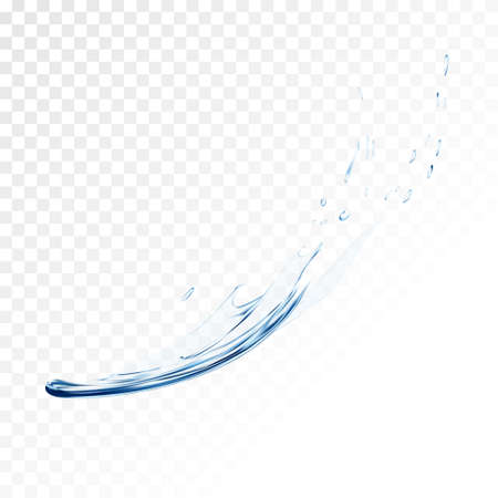 liquid splash: Blue water vector splash isolated on transparent background. blue realistic aqua spray with drops. 3d illustration. transparent liquid surface backdrop created with gradient mesh tool.