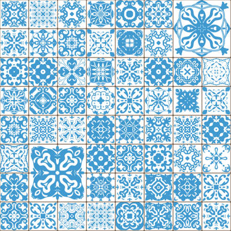 seamless tile: Seamless tile pattern. Colorful lisbon, mediterranean floral ornament pattern. Square flower blue mosaic.  Arabic, Indian, Turkish,  Chinese Moroccan, Portuguese Ottoman motifs. vector.