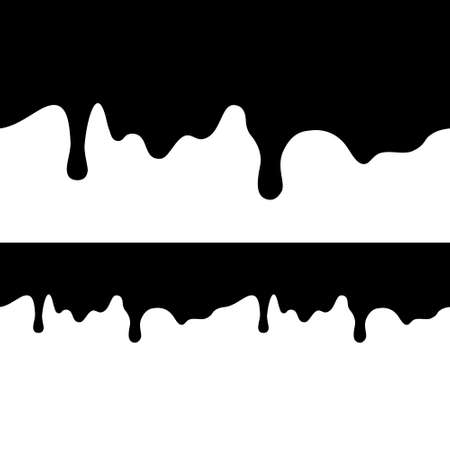 paint dripping: Black paint dripping isolated on white background. flat dark oil is falling from the top of the image and bottom. seamless texture vector. Blot.