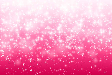 Vector Illustration of a Valentines Day Card. Falling snow, sparkle star, snow on a pink background. Abstract white glitter confetti background. Romantic valentine backdrop. 向量圖像