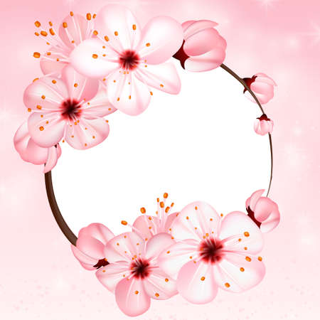 Spring background with pink blossom flowers. Vector 3d illustration. Beautiful vernal floral banner, poster, flyer. Springtime blooming apple tree. close up of branch, petal over rose bokeh backdrop