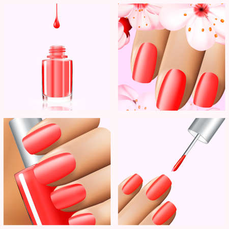 spa collage: Colorful red collection of nail designs for summer and spring. Vector 3d illustration. Nailpolish lacquer ads, nail polish splatter on white background. Manicure vogue ads for design Illustration