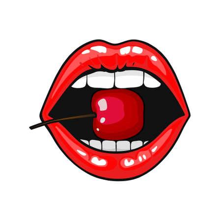 Vrouwen rode lippen met kers op pop-artstijl. Vector illustratie. geïsoleerd op wit.