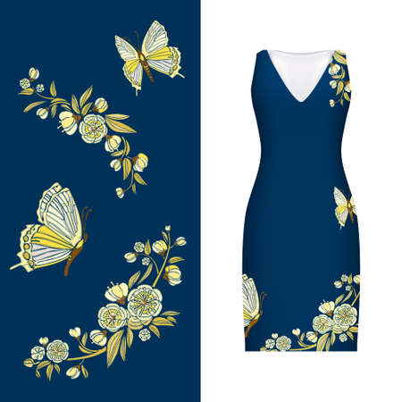 rose: Vector embroidery, floral pattern of butterfly, leaves and rose on classic womens dress mockup. Vector illustration. Hand-drawn ornate pattern. Gold on dark blue. Illustration