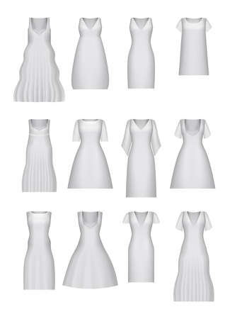 Womens dress mockup collection. White realistic clothes set. vector 3d illustration. Created with gradient mesh. Festival dress with or without sleeves, short, long length. Different types. Isolated.