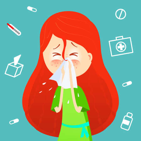 Sick girl Allergy kid sneezing.