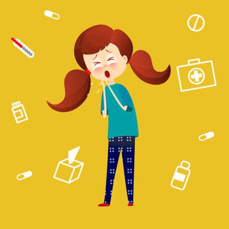 tosiendo: Niño enfermo con fiebre y enfermedad Kid captura frío, Niña tiene la gripe y la tos, Enfermedad symthtomps ilustración vectorial en estilo de dibujos animados