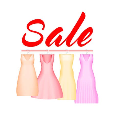 Summer sale background with vivid party dress, Vector background for banner, poster, flyer, card, postcard, cover, brochure, Four prom gowns with sale text.